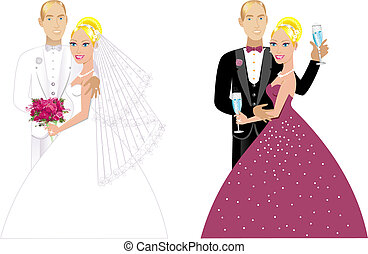 Vector Illustration. A beautiful bride and groom on their wedding day and a formal special occasion. Double Couple 1.