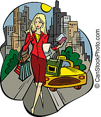 a business-lady in the city with purchases - Vector...