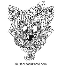 Vector illustration , a cat with an ornament Doodle floral drawing.  meditative exercises. Coloring book anti stress for adults. Black white.