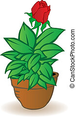Vector illustration a flowerpot with a rose flower on a...