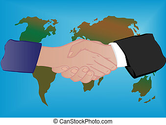 Vector illustration a globe and hand shake - Vector...