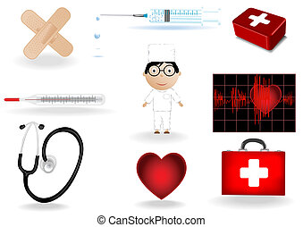 Vector illustration a medical set and the doctor