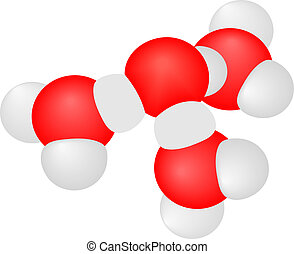 Vector illustration a molecule with atoms on a white...