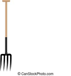 Vector illustration a pitchfork with the wooden handle.