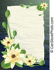 blossoming lilies - Vector illustration - a pond with fine ...