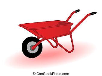 Vector illustration a red wheelbarrow for transportation of...