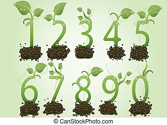 Vector illustration a set of figures in the form of green sprouts on the earth