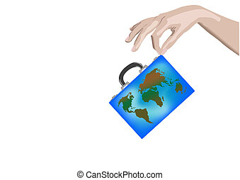 Vector illustration a suitcase with globe in hand