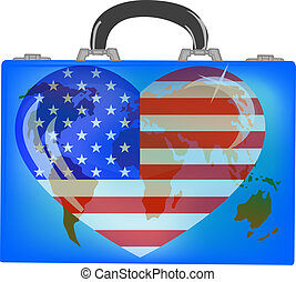 Vector illustration a suitcase with globe on a white background