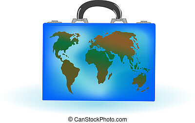 Vector illustration a suitcase with globe