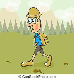 Vector illustration. A tourist at mountains and valley