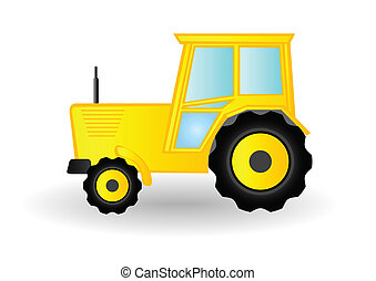 Vector illustration a yellow tractor on wheels