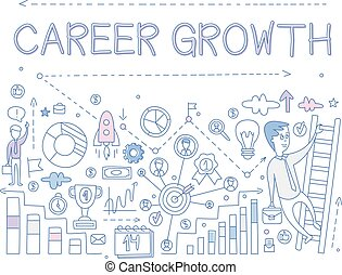 Vector illustration about career growth with man on ladder. Icons related to professional development. Career day. Hand drawn sketch design