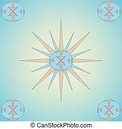vector illustration abstract ornament pattern of four ornaments in the corners with a star wind rose in the center on a beige background