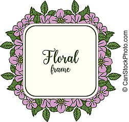 Vector illustration abstract purple floral frame isolated on white background