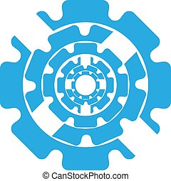 vector illustration abstract symbol of blue color gears on a white background