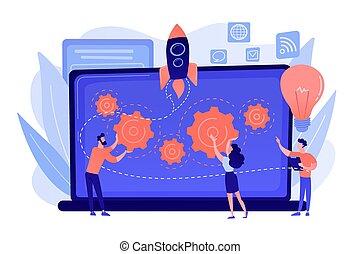 vector, illustration., acelerador, concepto, inicio