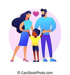 vector, illustration., adoptivo, concepto, padres, resumen, ...