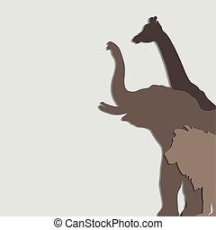 vector illustration African animals: elephant, giraffe, lion