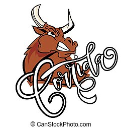 Vector illustration aggressive fighting bull.