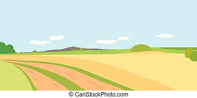 Vector illustration agricultural landscape with fields and meadows, trees and mountain in the background under a blue sky with clouds
