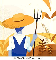 Vector illustration - agriculture Farmer. landscape nature. art. Corn farm. background