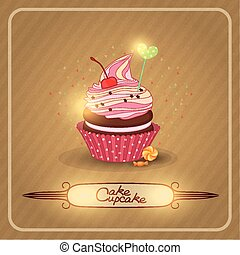 Vector illustration air fruit cream on the cupcake. The image on