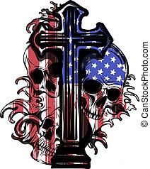 vector illustration America Flag painted on a skull