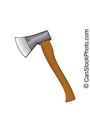 Vector illustration an axe with the wooden handle