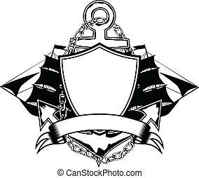 Vector illustration anchor and ship
