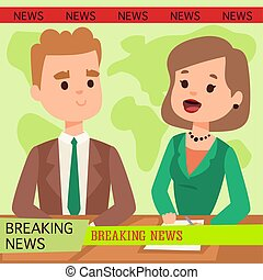 Vector Illustration anchorman breaking news and tv screen...