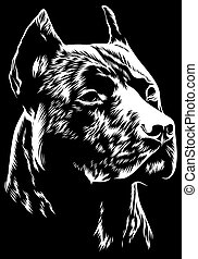 Vector illustration Angry pitbull mascot head, on a white background Dog pitbull