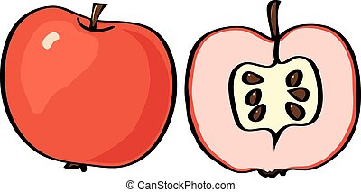 Vector illustration apple on a white background.