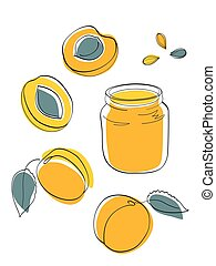 Apricot jam and fruits