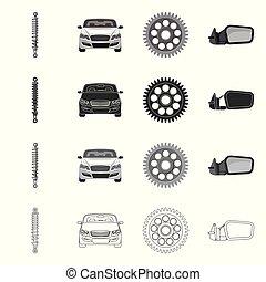 vector, illustration., auto, voorwerp, vrijstaand,...