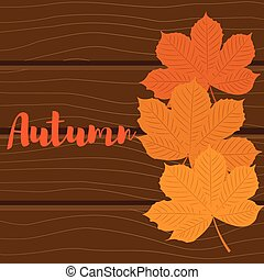 Autumn background. Leaves of chestnut yellow on a wooden background
