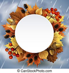 Vector illustration - Autumn background with leaves, berries, acorns and cones.