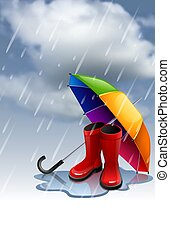 Autumn background with rainbow umbrella and red gumboots