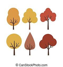Vector illustration autumn trees isolated on white background.