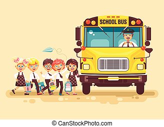 Vector illustration back to school cartoon characters schoolboy schoolgirls pupils apprentices cute cheerful children at bus stop go board school bus with driver on yellow background flat style