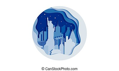Vector illustration background circle icon flat style architecture buildings monuments town city country travel USA