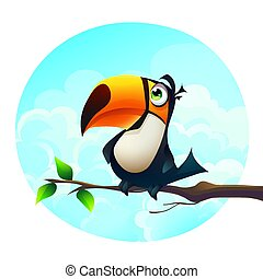 Vector illustration background of a funny parrot on a branch