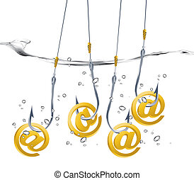 on-line fraud concept, hook holding email sign.