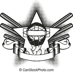 baseball mask in star - Vector illustration baseball mask in...