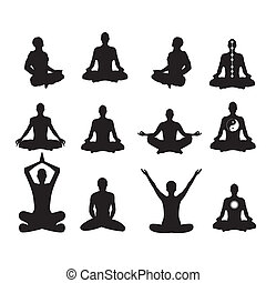Vector illustration Basic meditation Poses - Set of vector...