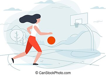Vector illustration - basketball girl player.