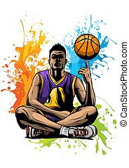 vector illustration basketball player with the ball