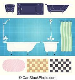 Vector illustration. Bathroom with furniture. Bathroom interior