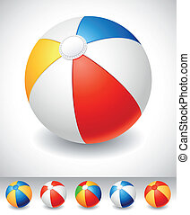 Beach ball - Vector illustration - Beach ball on white