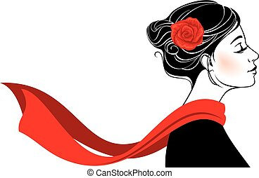 Beautiful romantic woman with rose in her hair